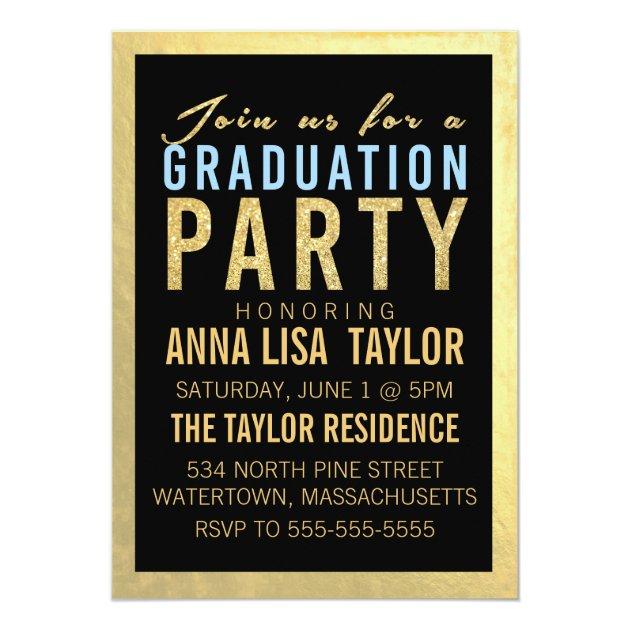 Gold Foil Glitter Graduation Party Invitation