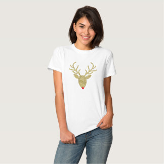 Gold Foil Glitter Rudolph Christmas T-Shirt