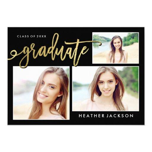 Gold Foil Graduate 3 Photo Collage Announcement