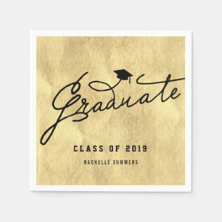 Gold Foil Graduate Graduation Party Paper Napkin