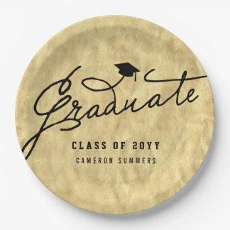 Gold Foil Graduate Graduation Party Paper Plates