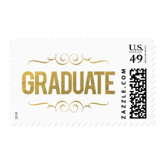 Gold Foil Graduate Graduation Postage Stamp