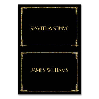 Gold Foil Great Gatsby Art Deco Place Setting Card