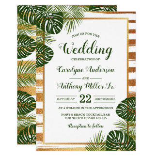 Gold Foil & Green Palm Leaf Beach Wedding