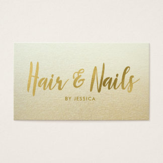 Gold Foil Hair Nails Beauty Salon Cosmetologist Business Card