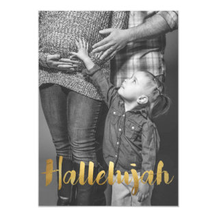 Gold Foil Hallelujah Christmas Holiday Photo Card at Zazzle