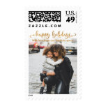 Gold Foil Happy Holidays, Add Your Photo & Message Postage