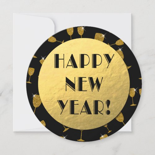 Gold Foil Happy New Year Round Card