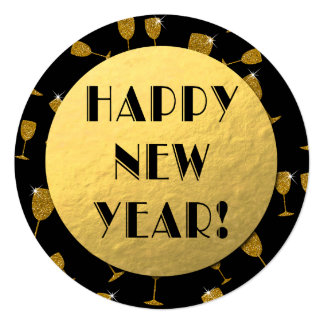 Gold Foil Happy New Year! Round Card