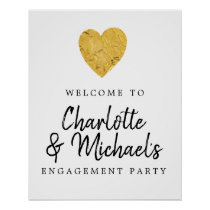 Gold Foil Heart Engagement Party Welcome Sign
