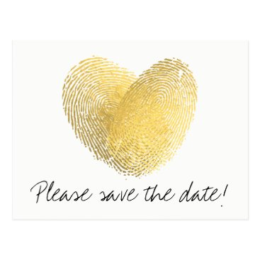 Beach Themed Gold Foil Heart Fingerprint Save the Date Postcard