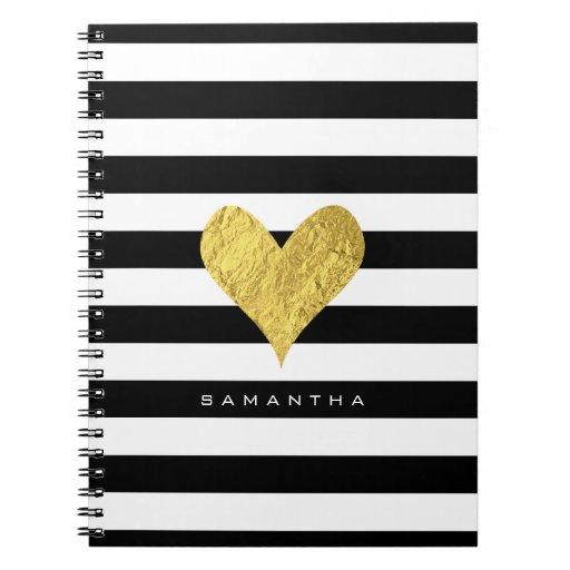 Gold Foil Heart Notebook