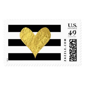 Gold Foil Heart Postage Stamp