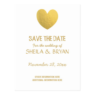 Gold Foil Heart Save The Date Post Card