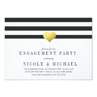Gold Foil Heart + Stripes Engagement Party 5x7 Paper Invitation Card