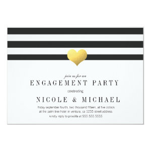 Gold Foil Heart Stripes Engagement Party 5x7 Paper Invitation Card