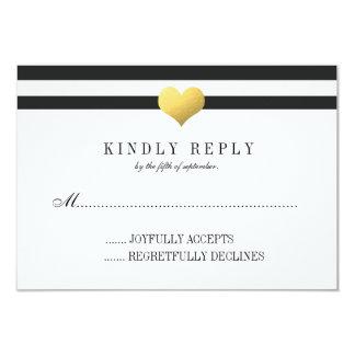 Gold Foil Heart + Stripes RSVP Card