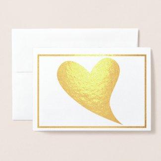 Gold Foil Heart Thank You Foil Card