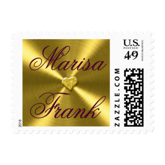 Gold Foil Heart Wedding |  gold burgundy Postage