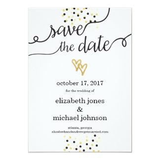 Gold Foil Hearts and Confetti Save the Date 5x7 Paper Invitation Card