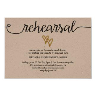 Gold Foil Hearts Kraft Paper Rehearsal Card