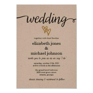 Charming Gold Foil Hearts Kraft Paper Wedding Invitation