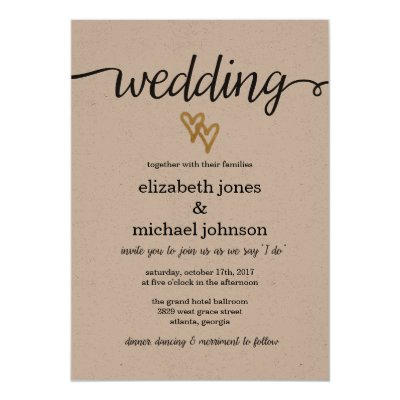 Shop Gold Foil Hearts Kraft Paper Wedding Menu Card created by bydandeliondesign. Personalize it with photos & text or purchase as is!