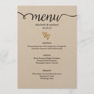 Gold Foil Hearts Kraft Paper Wedding Menu