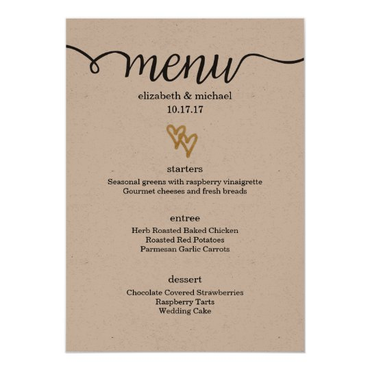 Gold Foil Hearts Kraft Paper Wedding Menu Card | Zazzle