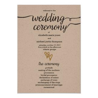 Gold Foil Hearts Kraft Paper Wedding Program