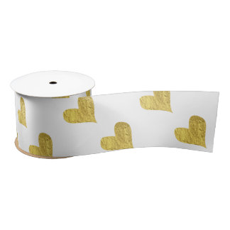 Gold Foil Hearts Satin Ribbon