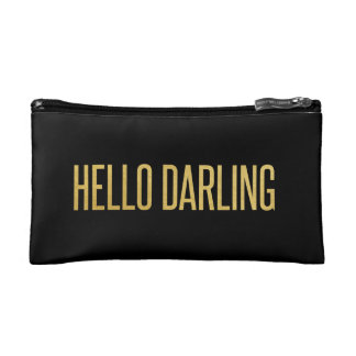Gold Foil Hello Darling on Black Cosmetic Bag
