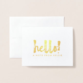 Gold Foil Hello Personalized Note Card