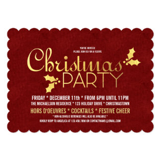 Gold Foil Holly Christmas Party Card