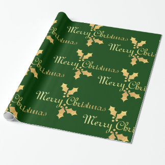 Gold Foil Holly Merry Christmas Wrapping Paper