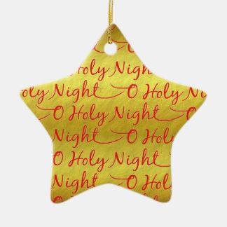 Gold Foil Holy Night Christmas Ceramic Ornament
