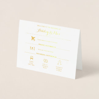 Gold Foil Icons Wedding Weekend Itinerary Card