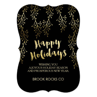 Gold Foil Image Happy Holidays Company Cards