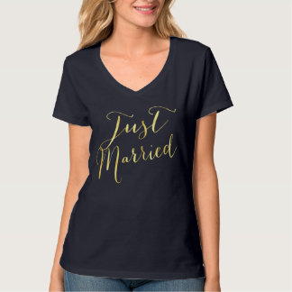 Gold foil Just Married t-shirt