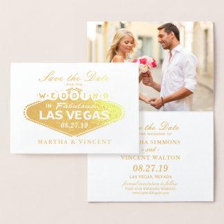 Gold Foil Las Vegas Sign Wedding Save the Date Foil Card