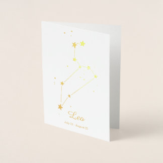 Gold Foil LEO Zodiac Sign Constellation Foil Card