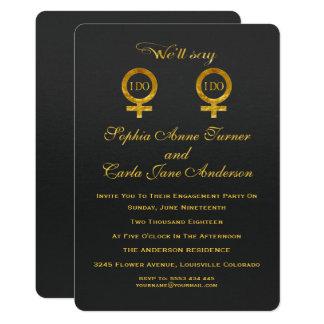 Gold Foil Lesbian Engagement Party Invitation