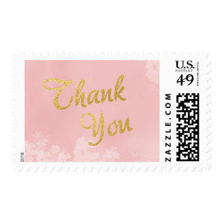 Gold Foil Lettering on Pink Floral Thank You Postage
