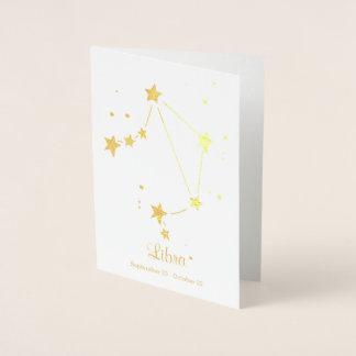 Gold Foil LIBRA Zodiac Sign Constellation Foil Card