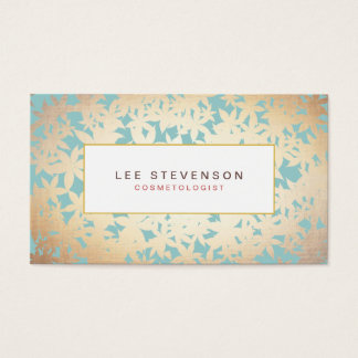 Gold Foil Look and Turquoise Floral Pattern Business Card