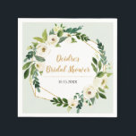 "Gold Foil Look Geometric Frame Floral Napkin<br><div class=""desc"">A gold foil look geometric frame with greenery and white floral watercolor bouquet corners is set against a light aqua background on this napkin. Makes a beautiful modern addition to bridal or wedding shower,  wedding,  birthday party,  or engagement party. Available with matching products.</div>"
