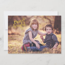 Gold Foil Look Merry Bright Photo Christmas Card