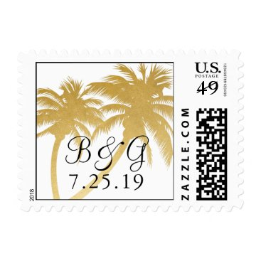 Beach Themed Gold Foil Look Palm Tree Destination Wedding Stamp