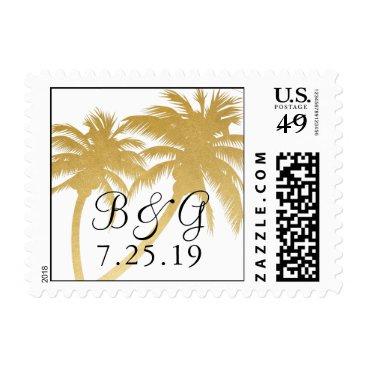 Beach Themed Gold Foil Look Palm Tree Destination Wedding Stamp
