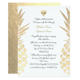 gold foil look pineapple tropical summer wedding invitation